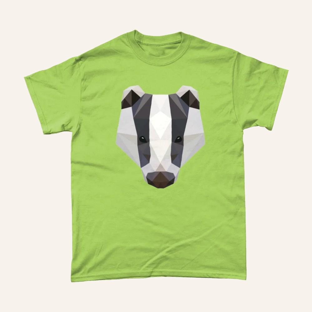 Low Poly Badger British Wildlife T Shirt