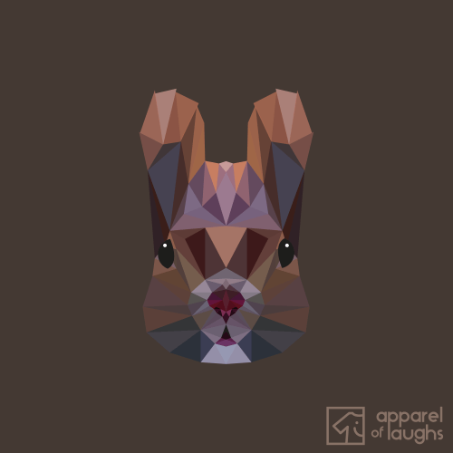 Low Poly Squirrel Female T-Shirt Design Chocolate
