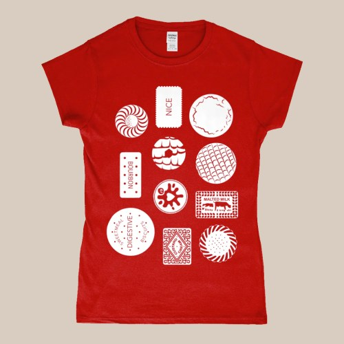 Biscuit Selection T-Shirt Design Red Women's