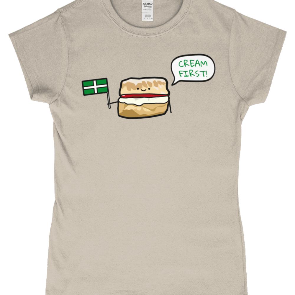 Cream First Devon Scone Womens T-Shirt Sand