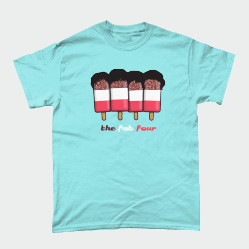 Fab Four 4 Beatles Ice Cream Lolly T-Shirt Design Orange Heather