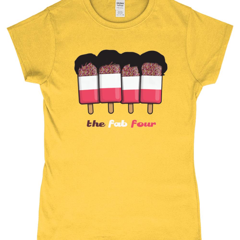 Fab Four 4 Beatles Ice Cream Lolly Women's T-Shirt Design Daisy