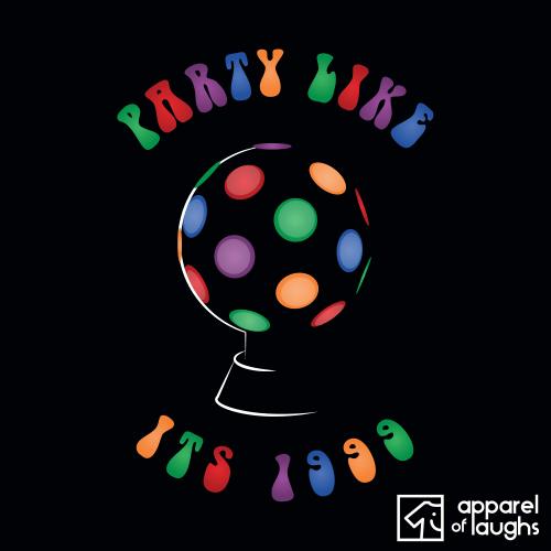 Party Like its 1999 Disco Ball T-Shirt Black