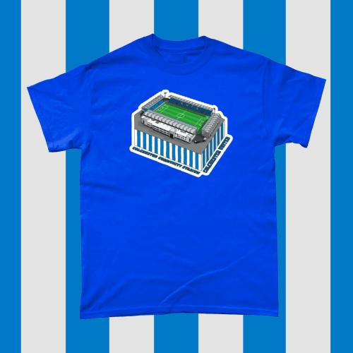 Colchester United Community Stadium Football Illustration Men's T-Shirt Royal Blue