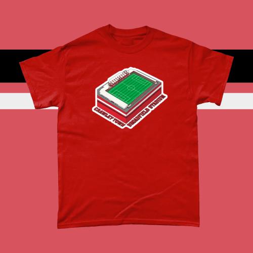 Crawley Town Broadfield Stadium Football Illustration Men's T-Shirt Red