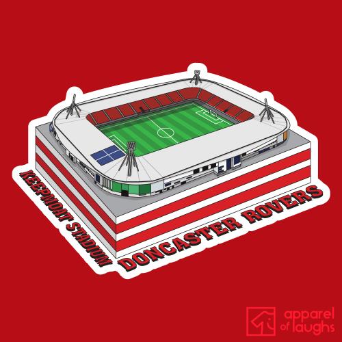 Doncaster Rovers Keepmoat Stadium Football Illustration T Shirt Design Red