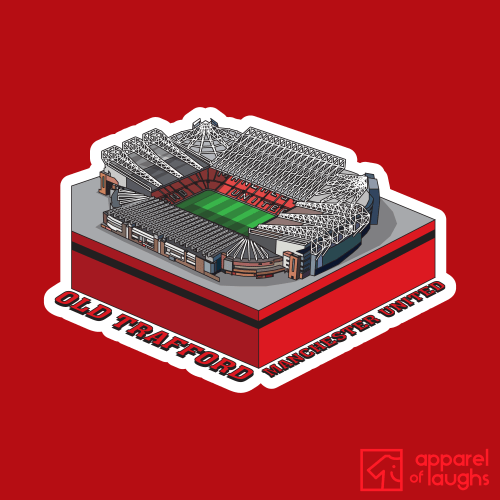 Manchester United old Trafford Football Stadium Illustration T Shirt Design Red