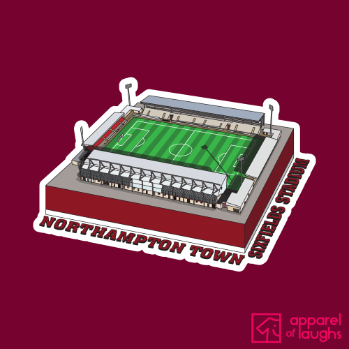 Northampton Town Sixfields Stadium Football Illustration T Shirt Design Cardinal Red