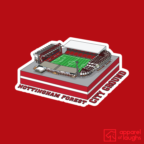 Nottingham Forest City Ground Football Stadium Illustration T Shirt Design Red