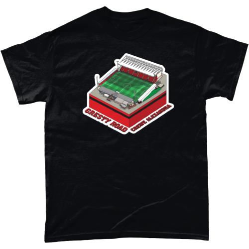 Crewe Alexandra Gresty Road Football Stadium Illustration T Shirt Black
