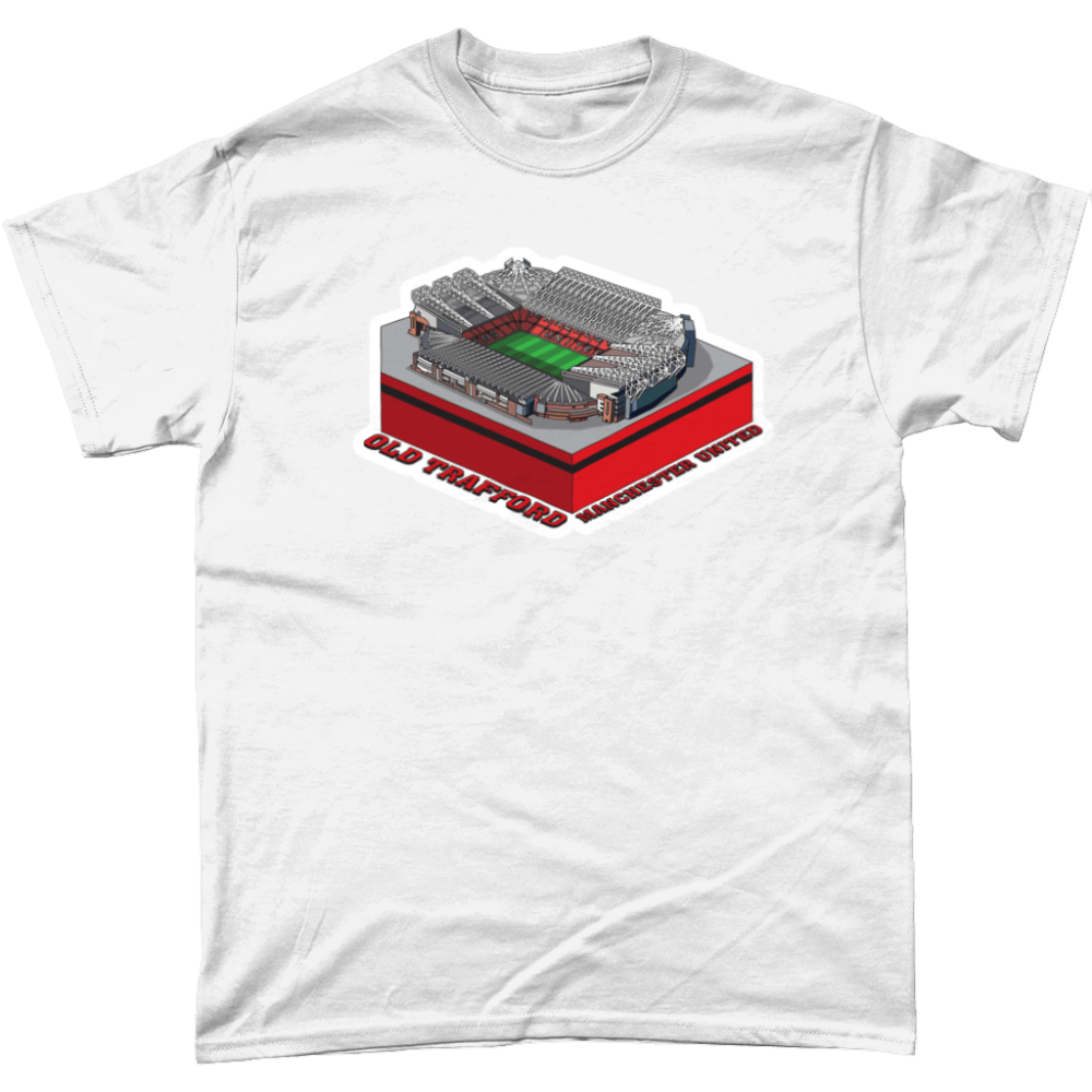 Manchester United old Trafford Football Stadium Illustration T Shirt White