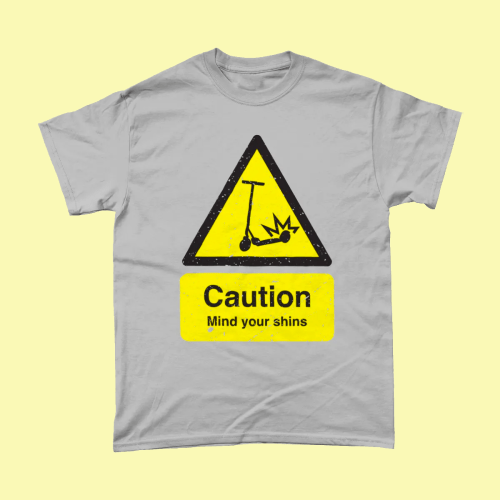 Caution Scooter Warning Sign Men's T-Shirt Sport Grey