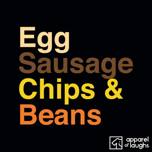 Egg Sausage Chips and Beans British Food Men's T-Shirt Black