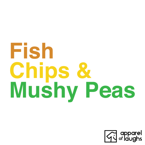 Fish Chips and Mushy Peas British Food Men's T-Shirt White