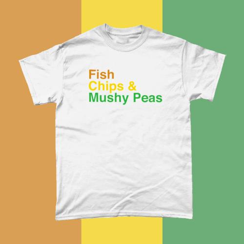 Fish Chips and Mushy Peas British Food Menu Men's T-Shirt White