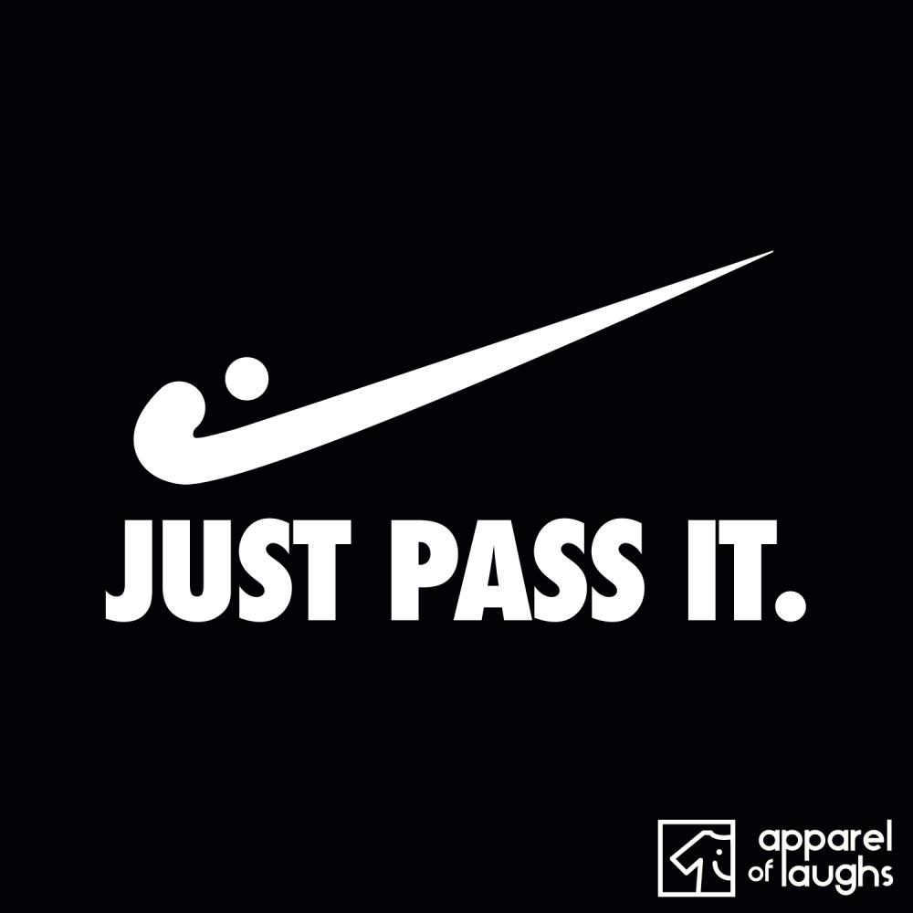 Just Pass It Nike Hockey Men's T Shirt Design Black