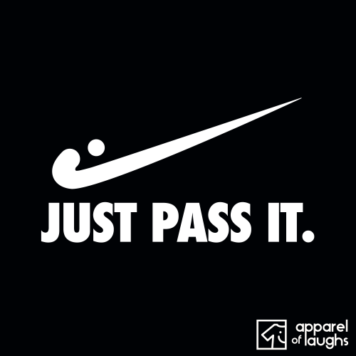 Just Pass It Nike Hockey Men's T Shirt Design Black