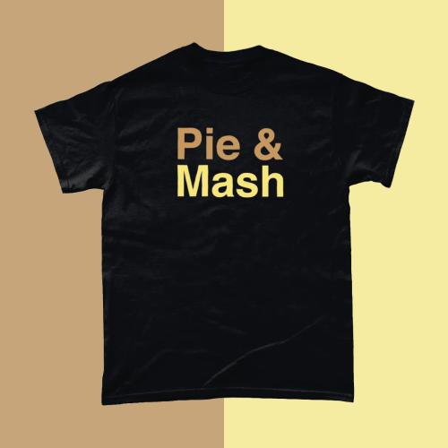 Pie and Mash British Food Menu Men's T-Shirt Black