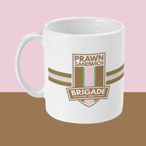 Prawn Sandwich Brigade Football Crest Mug Left