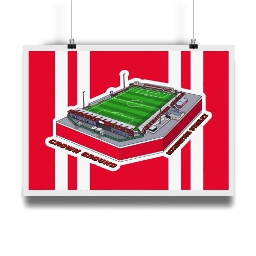 Accrington Stanley Crown Ground Hallowed Turf Football Stadium Illustration Print