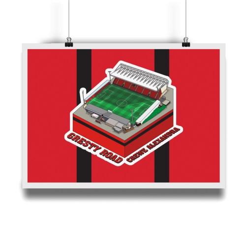 Crewe Alexandria Gresty Road Hallowed Turf Football Stadium Illustration Print