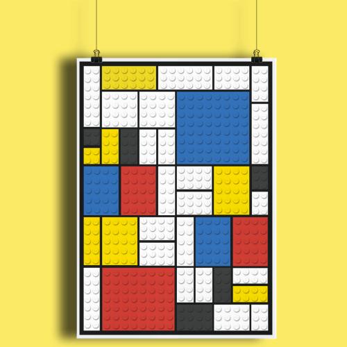 Lego Brick Toy Mondrian Fine Art Print A2