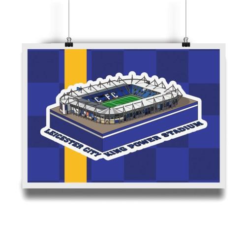 Leicester City King Power Stadium Hallowed Turf Football Stadium Illustration Print