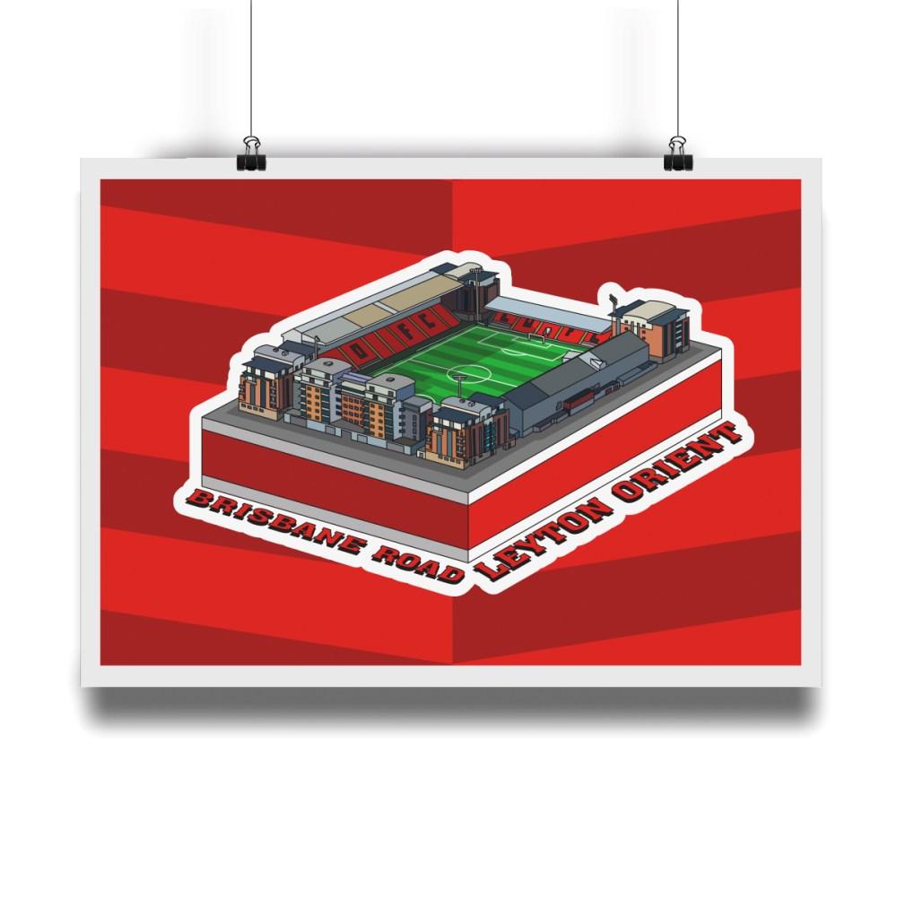 Leyton Orient Brisbane Road Hallowed Turf Football Stadium Illustration Print