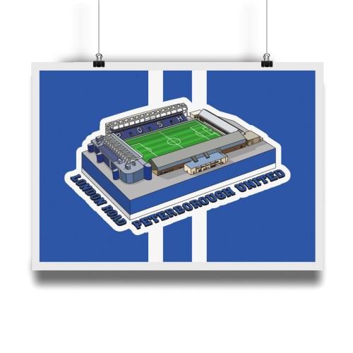 Peterborough United London Road Hallowed Turf Football Stadium Illustration Print