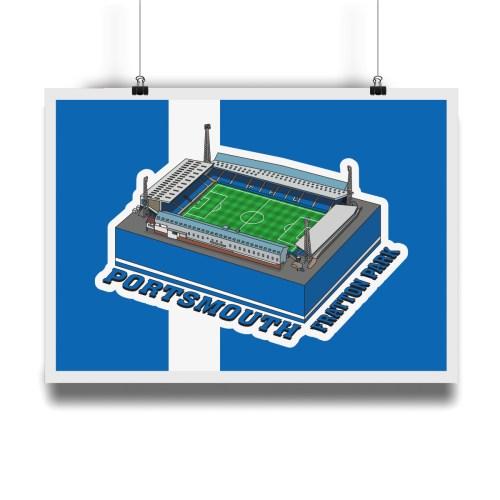 Portsmouth Fratton Park Hallowed Turf Football Stadium Illustration Print