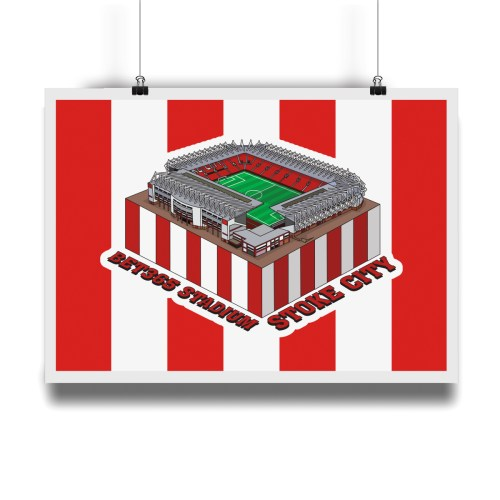 Stoke City Bet365 Stadium Hallowed Turf Football Stadium Illustration Print