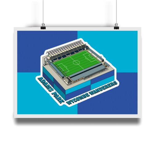 Wycombe Wanderers Adams Park Hallowed Turf Football Stadium Illustration Print