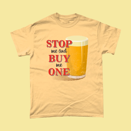Stop Me and Buy Me One Pint Beer Pub Men's T-Shirt Yellow Haze