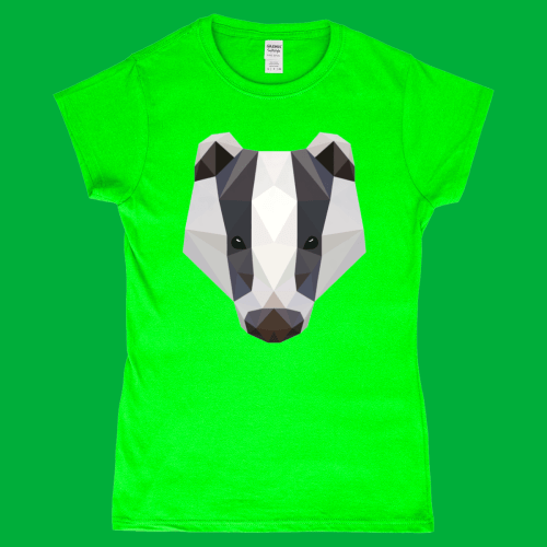 low Poly Badger British Wildlife Women's T-Shirt Irish Green