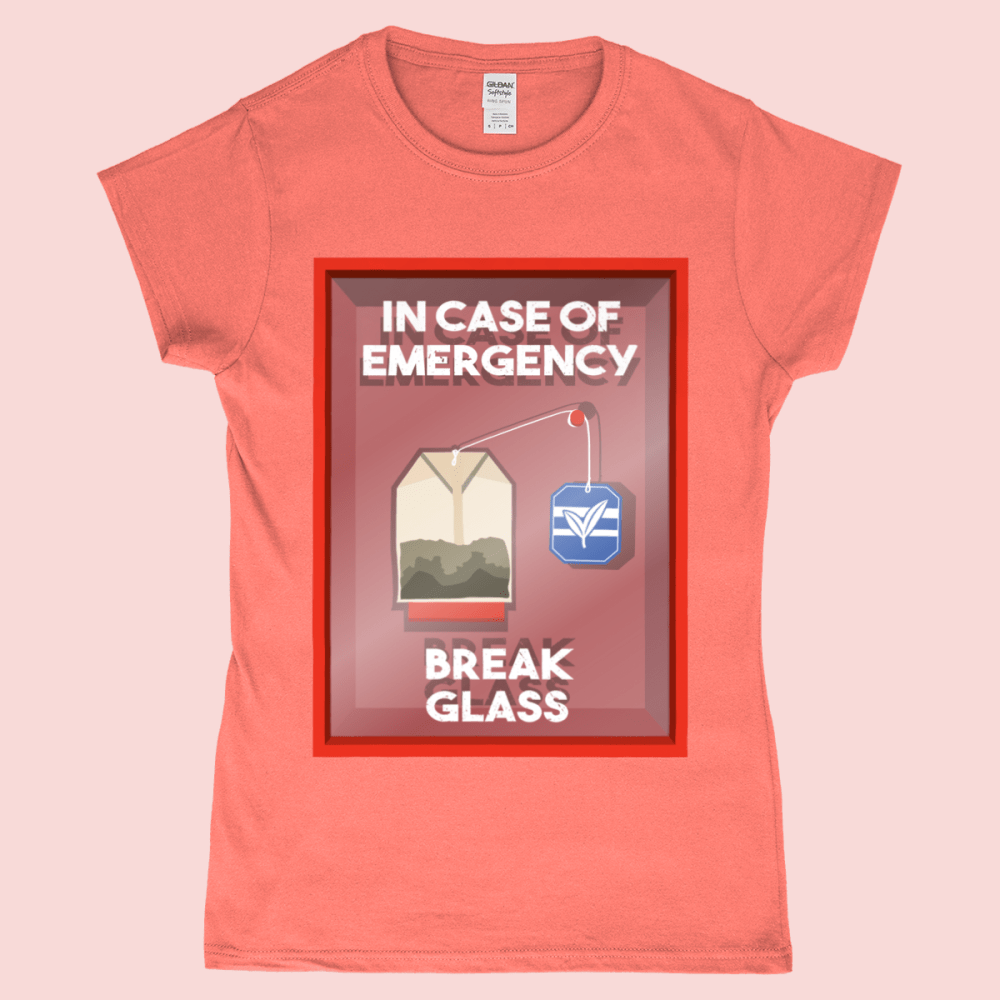 In Case of Emergency Break Glass Cup Of Tea Bag Women's T-Shirt Heather Orange