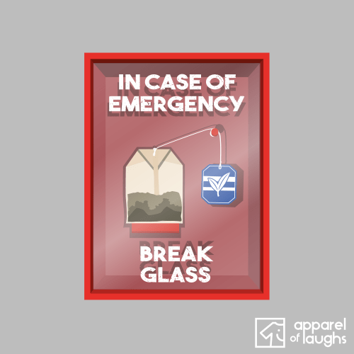 In Case of Emergency Break Glass Cup of Tea Bag Men's T-Shirt Design Sports Grey