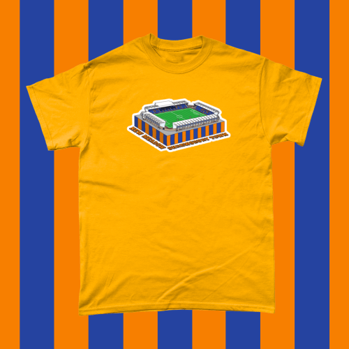 Shrewsbury Town New Meadow Football Stadium Illustration Men's T-Shirt Gold