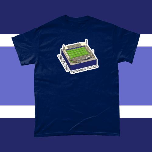 Southend Roots Hall Football Stadium Illustration Men's T-Shirt Navy