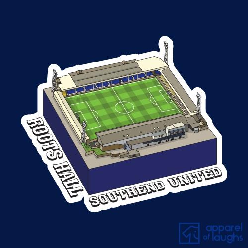 Southend United Roots Hall Football Stadium Illustration T-Shirt Design Navy