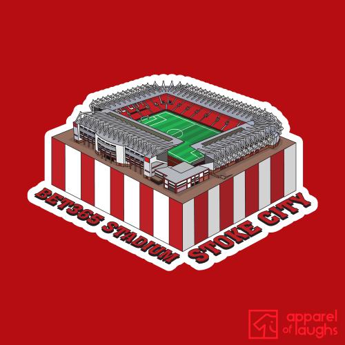 Stoke City Bet365 Stadium Football Illustration T-Shirt Design Red