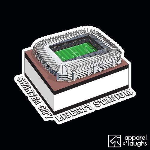 Swansea City Liberty Stadium Football Illustration T-Shirt Design Black