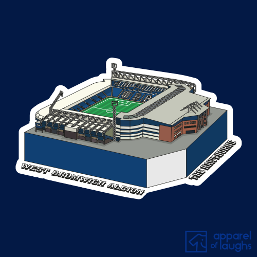 West Bromwich Albion The Hawthorns Football Stadium Illustration T-Shirt Design Navy