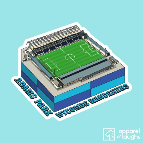 Wycombe Wanderers Adams Park Football Stadium Illustration T-Shirt Design Light Blue