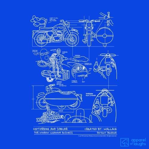Wallace and Gromit Close Shave Bike Blueprint Women's T-Shirt Design Royal Blue