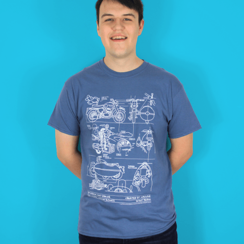 Wallace and Gromit Close Shave Bike Blueprints Men's T-Shirt