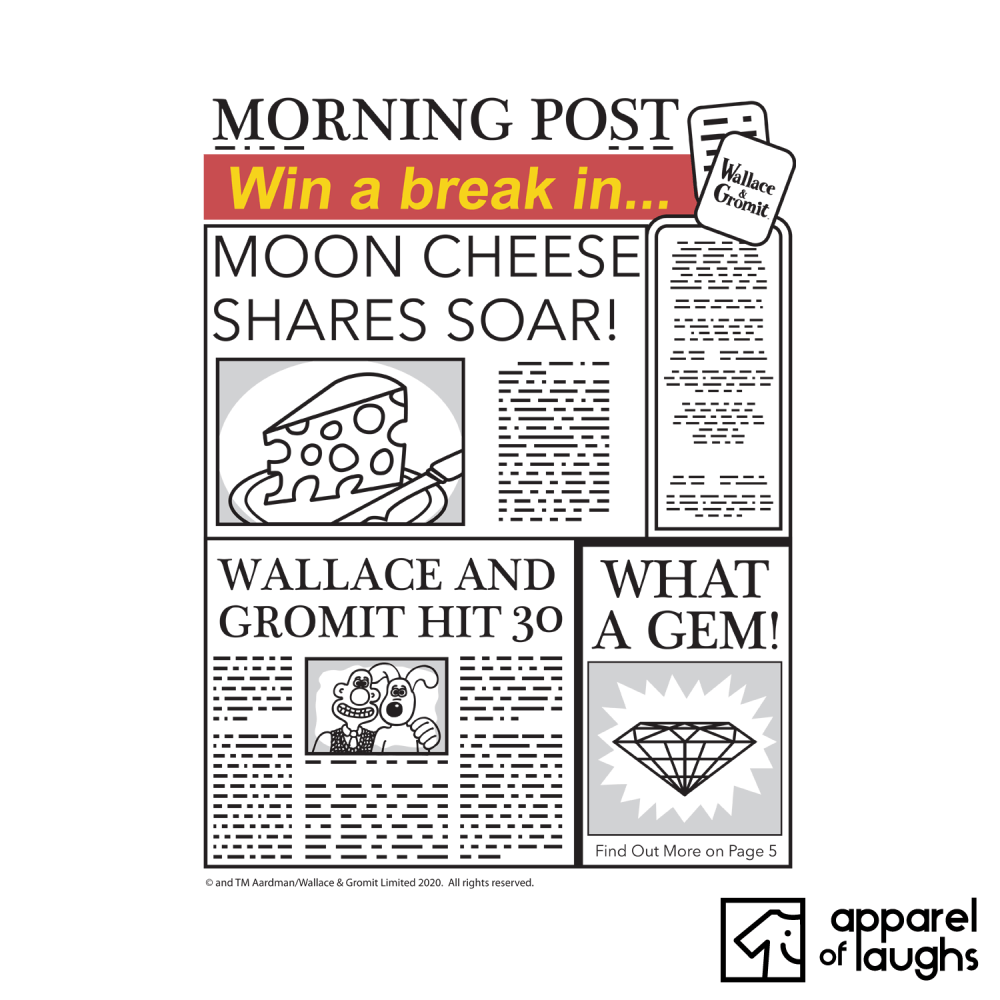 Wallace and Gromit Newspaper Moon Cheese T-Shirt Design White