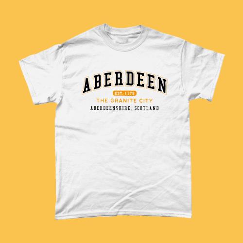Aberdeen City Men's T-Shirt Women's Fashion British Places White copy