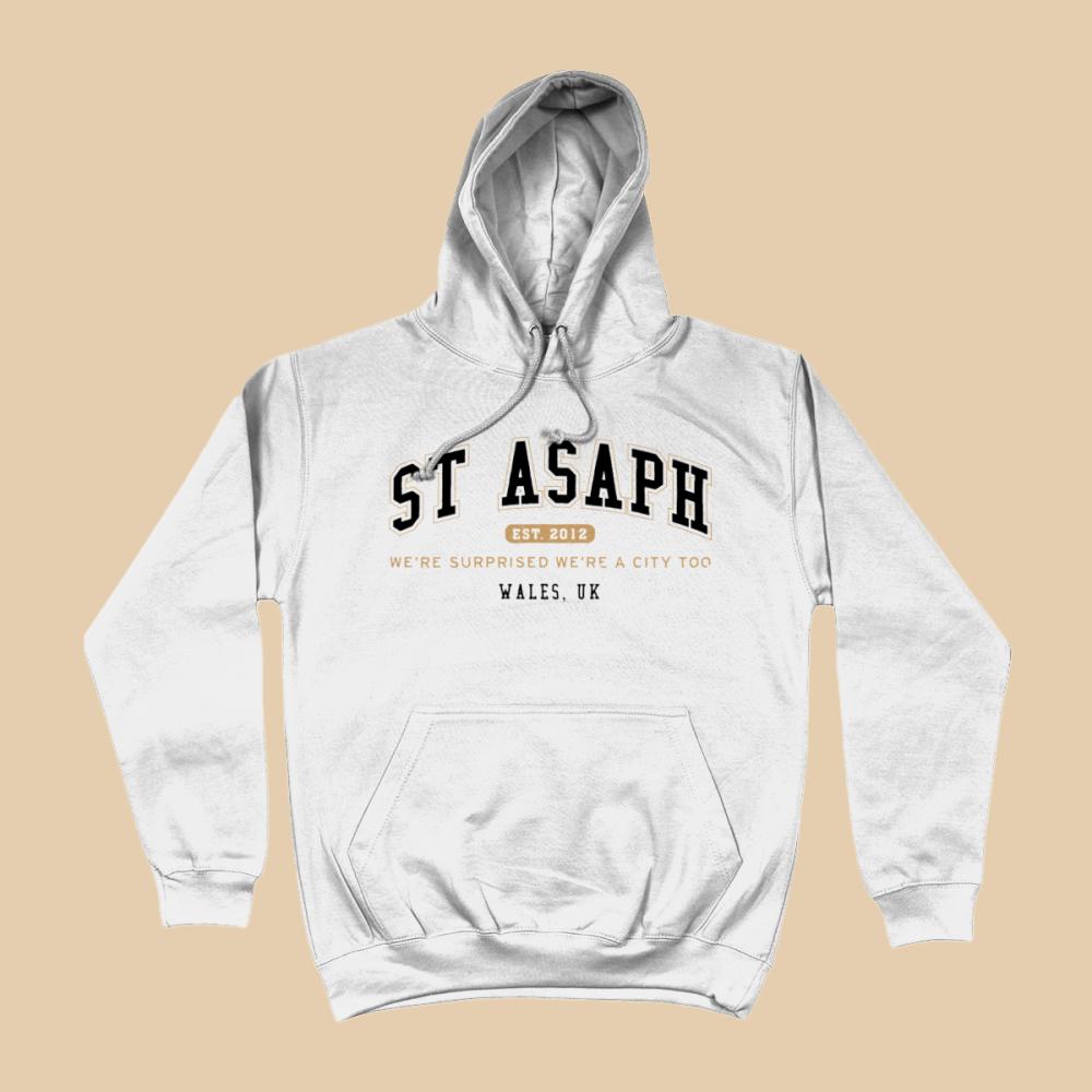 St Asaph City Men's Apparel Women's Hoodie British Places White