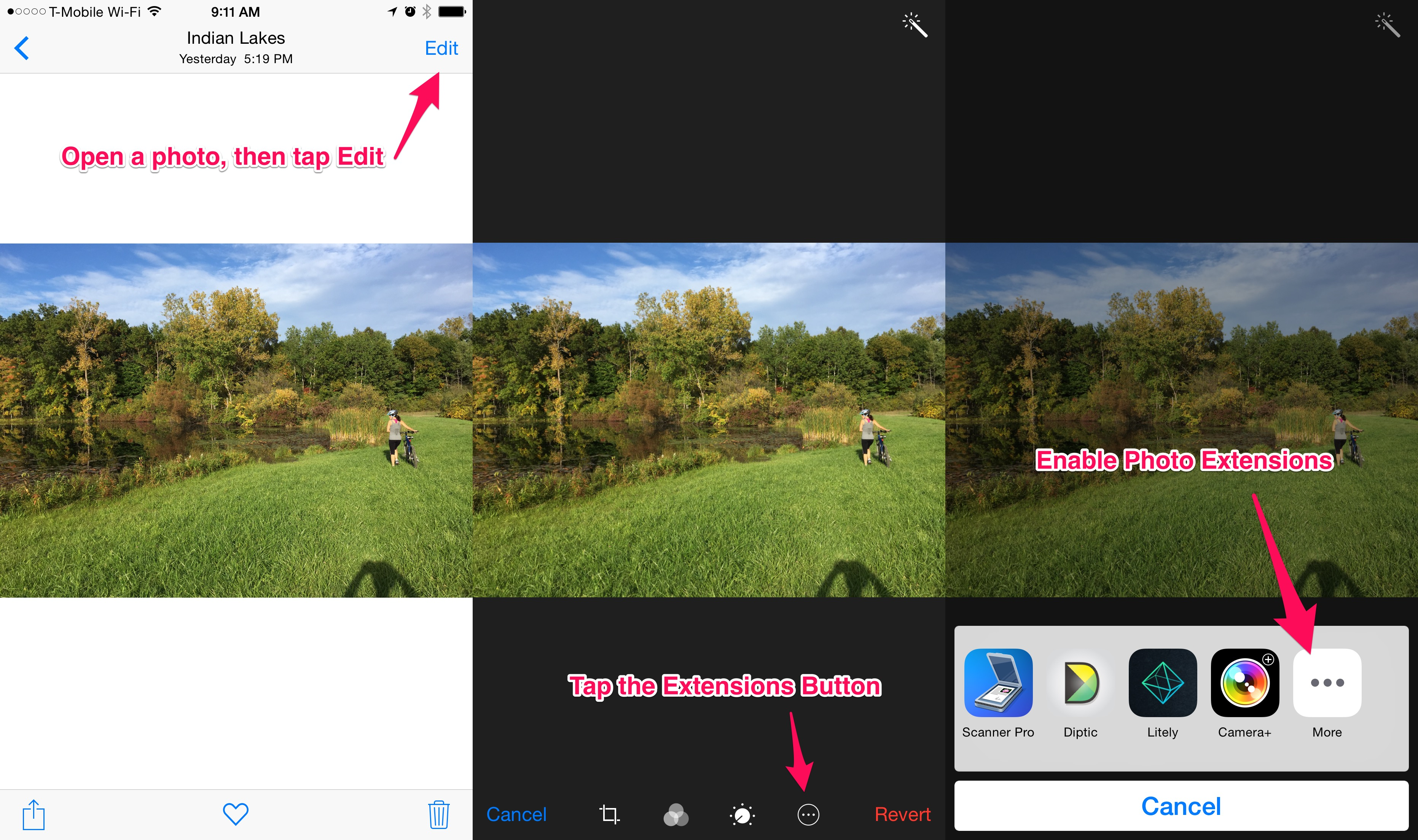 Extensions can be enabled in the default Photos app with the edit button.