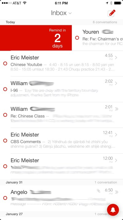 Mail Pilot 2 incorporates swipe gestures throughout the interface.